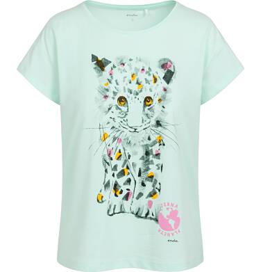 Endo - T-shirt damski z małym lampartem, zielony Y05G011_1 16