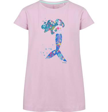 Endo - Tunika z krótkim rękawem dla dziewczynki, z syrenką, różowa, 2-8 lat D03T009_1