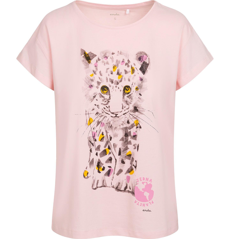 Endo - T-shirt damski z małym lampartem, różowy Y05G011_2