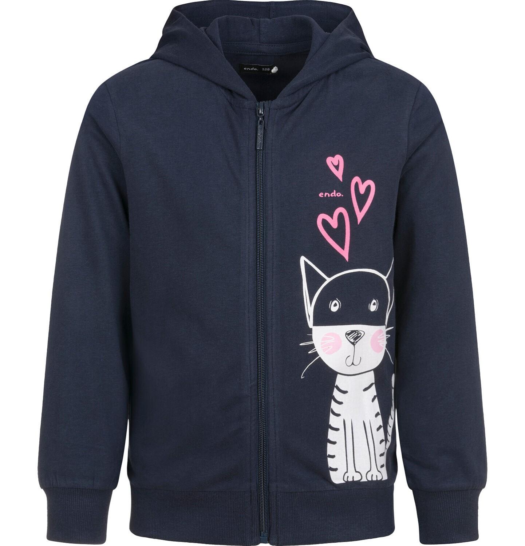 Endo - Rozpinana bluza z kapturem dla dziewczynki, z kotem, granatowa, 9-13 lat D03C525_1