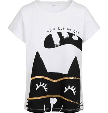 Endo - T-shirt damski z kotem, biały Y05G015_1 13
