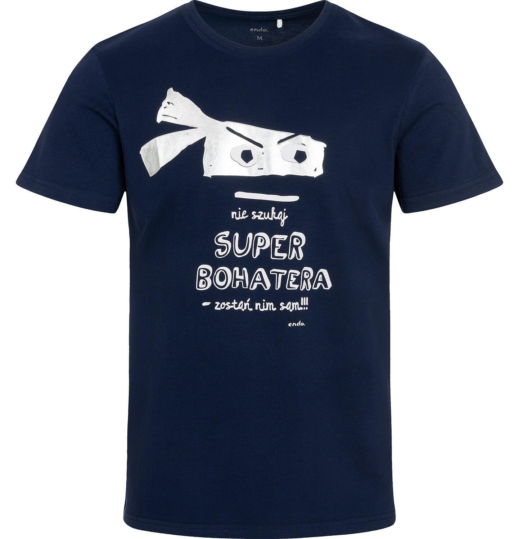 Endo - T-shirt męski z superbohaterem, granatowy Q05G001_1