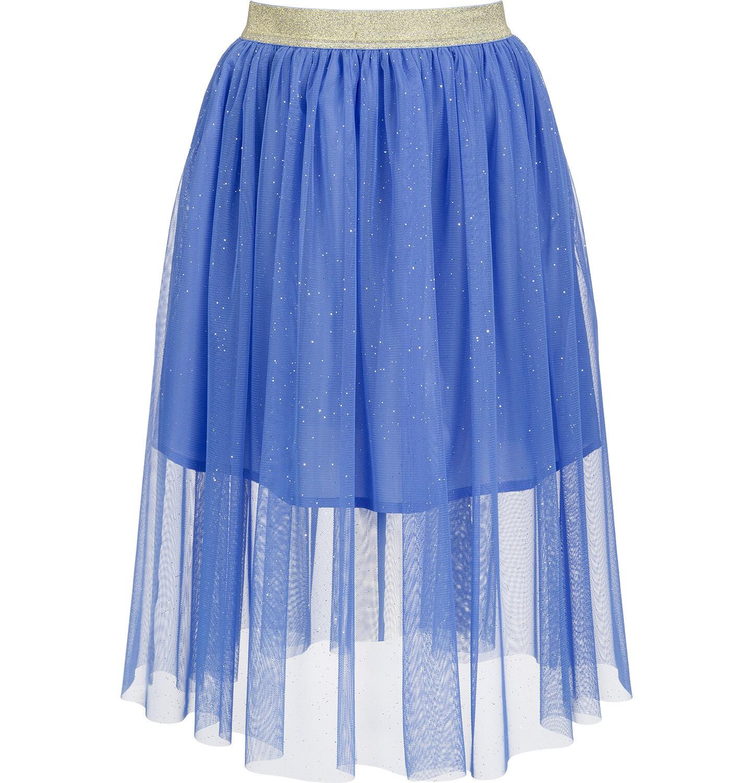 Tiulowa, długa spódnica, ze złotą gumką w pasie, niebieska, 2 8 lat
