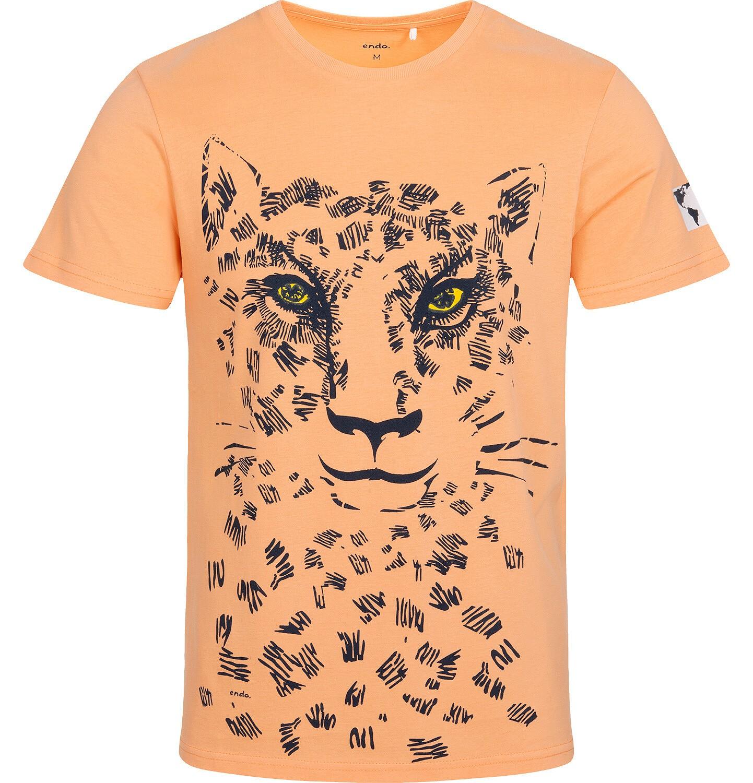 Endo - T-shirt męski z lampartem, pomarańczowy Q05G002_1