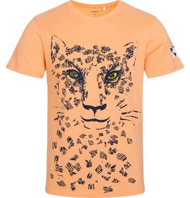 T-shirt męski z lampartem, pomarańczowy Q05G002_1