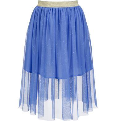 Tiulowa, długa spódnica, ze złotą gumką w pasie, niebieska, 9-13 lat D03J508_2