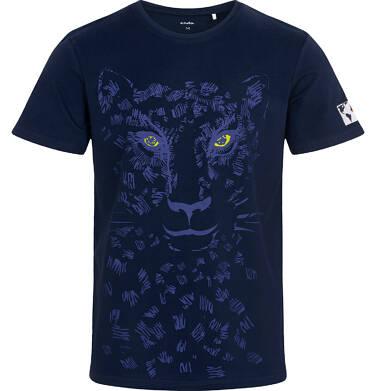Endo - T-shirt męski z lampartem, granatowy Q05G002_2 10