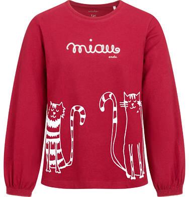 Endo - Bluzka z długim rękawem dla dziewczynki, z kotem, bordowa, 2-8 lat D04G151_1 8