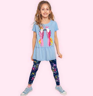 Endo - Legginsy dla dziewczynki, granatowe w kwiatki, 2-8 lat D05K040_3 8