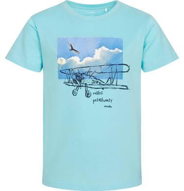 Endo - T-shirt z krótkim rękawem dla chłopca, z samolotem, niebieski, 9-13 lat C06G062_2 20