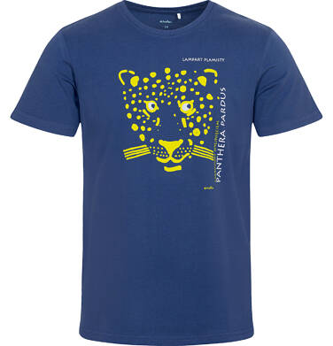 T-shirt męski z lampartem, granatowy Q05G003_1