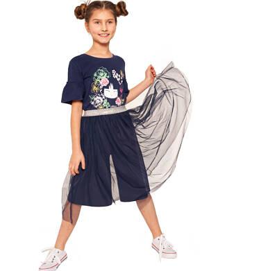 Endo - Spódnico-spodnie z tiulem, ze srebrną gumką w pasie, granatowe, 2-8 lat D03J013_2,2