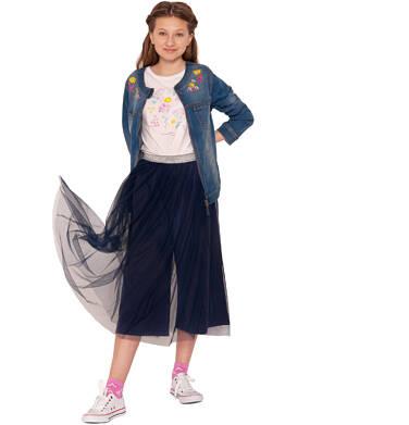 Endo - Spódnico-spodnie z tiulem, ze srebrną gumką w pasie, granatowe, 9-13 lat D03J513_2 238