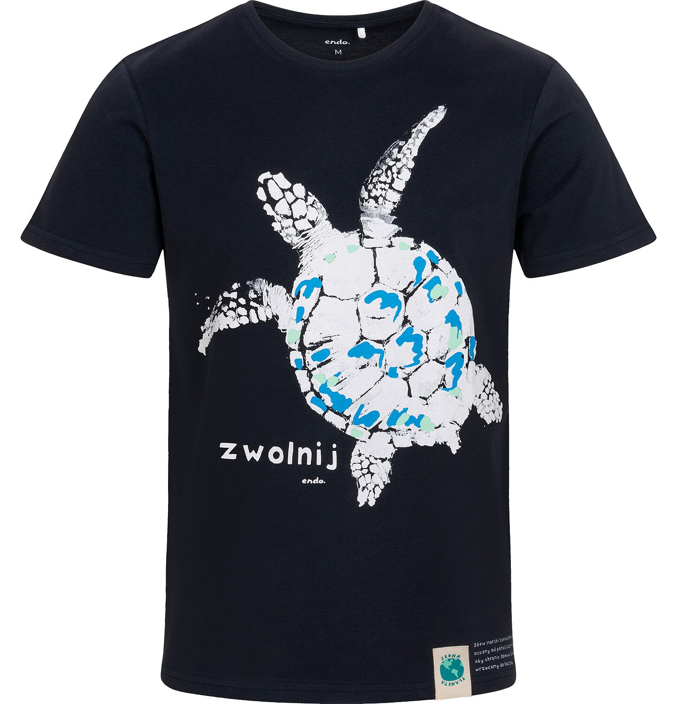 Endo - T-shirt męski z żółwiem morskim, granatowy Q05G005_1