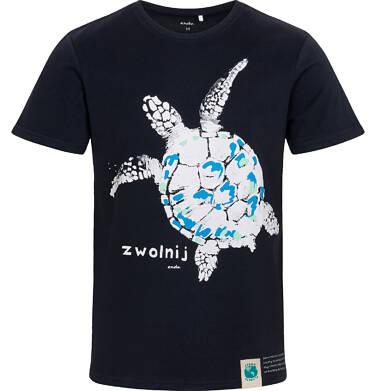 Endo - T-shirt męski z żółwiem morskim, granatowy Q05G005_1 6