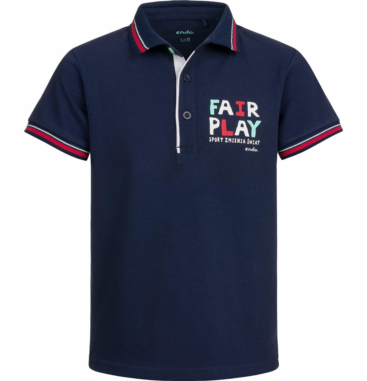 Endo - T-shirt polo z krótkim rękawem dla chłopca, fair play, ciemnogranatowy, 2-8 lat C03G015_1