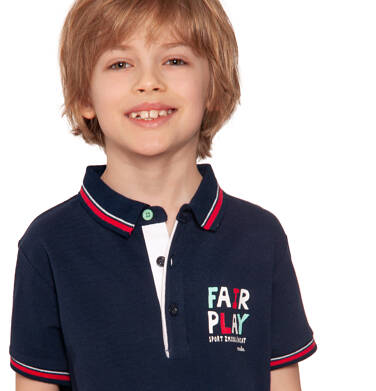 Endo - T-shirt polo z krótkim rękawem dla chłopca, fair play, ciemnogranatowy, 2-8 lat C03G015_1 27