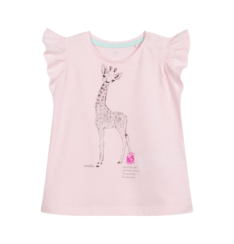 Endo - Bluzka dla dziecka do 2 lat, z żyrafą, różowa N03G052_1