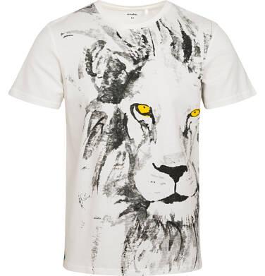 Endo - T-shirt męski z lwem, kremowy Q05G006_1 5