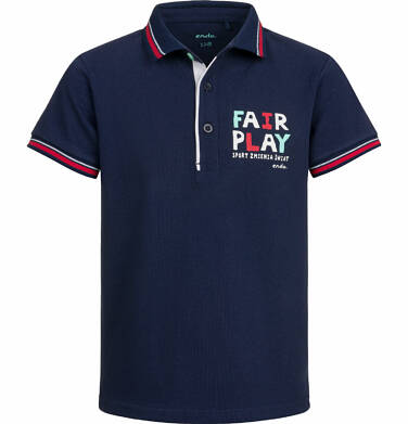 Koszulka polo z krótkim rękawem dla chłopca, fair play, ciemnogranatowa, 9-13 lat C03G515_1