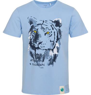 Endo - T-shirt męski z tygrysem, niebieski Q05G007_1 23
