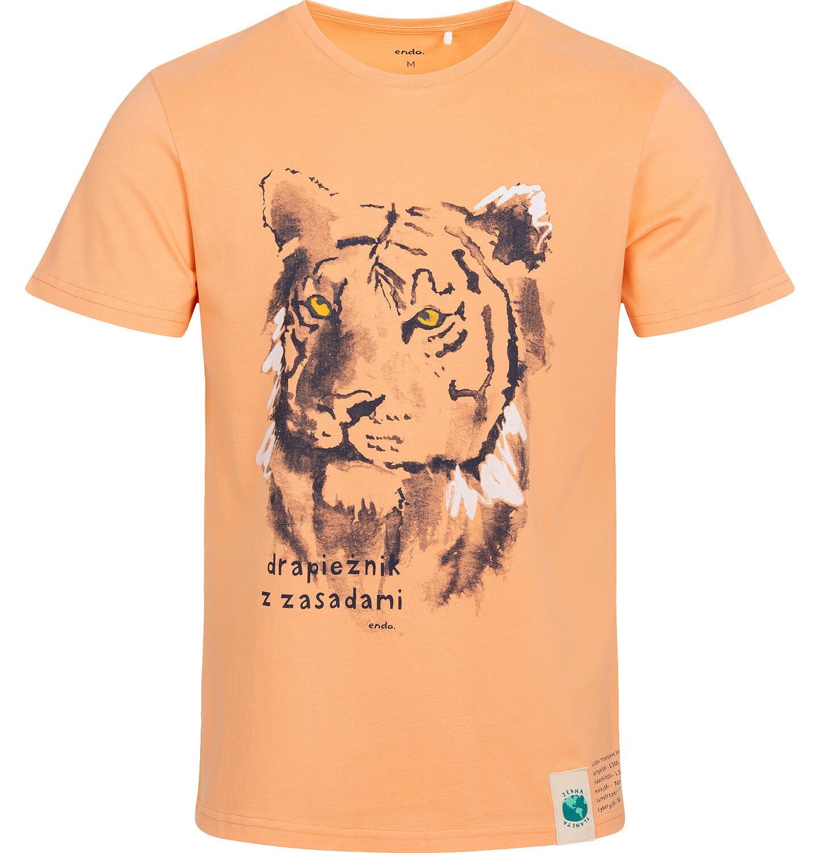 Endo - T-shirt męski z tygrysem, pomarańczowy Q05G007_2