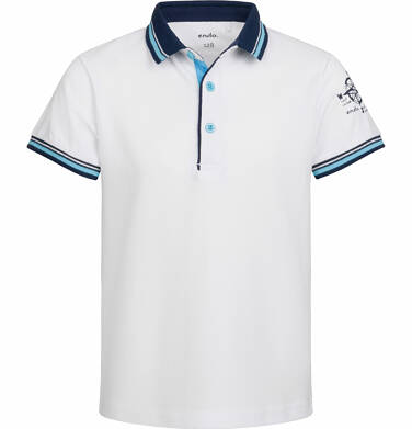 Endo - T-shirt polo z krótkim rękawem dla chłopca, z kompasem, biały, 9-13 lat C03G516_1