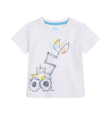 Endo - T-shirt dla dziecka do 2 lat, z koparką, biały N03G056_1