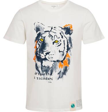 Endo - T-shirt męski z tygrysem, kremowy Q05G008_1 21