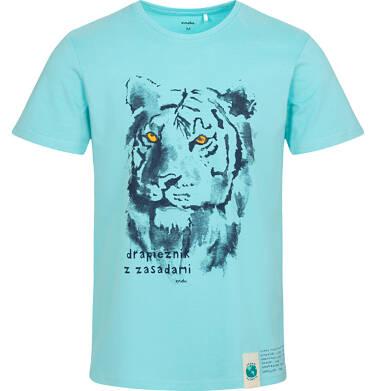 T-shirt męski z tygrysem, niebieski Q05G008_2