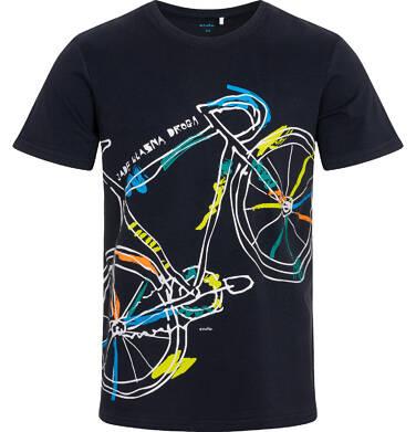 Endo - T-shirt męski z kolorowym rowerem, granatowy Q05G009_1 5