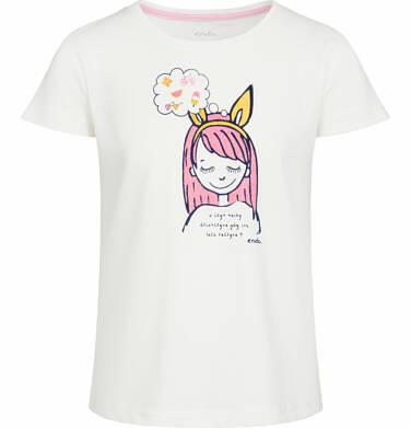 Bluzka z krótkim rękawem dla dziewczynki, z kolorową postacią, porcelanowa, 9-13 lat D03G517_1