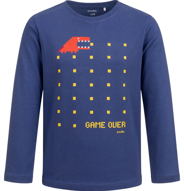 Endo - T-shirt z długim rękawem dla chłopca, z zabawnym nadrukiem, niebieski, 9-13 lat C04G027_1