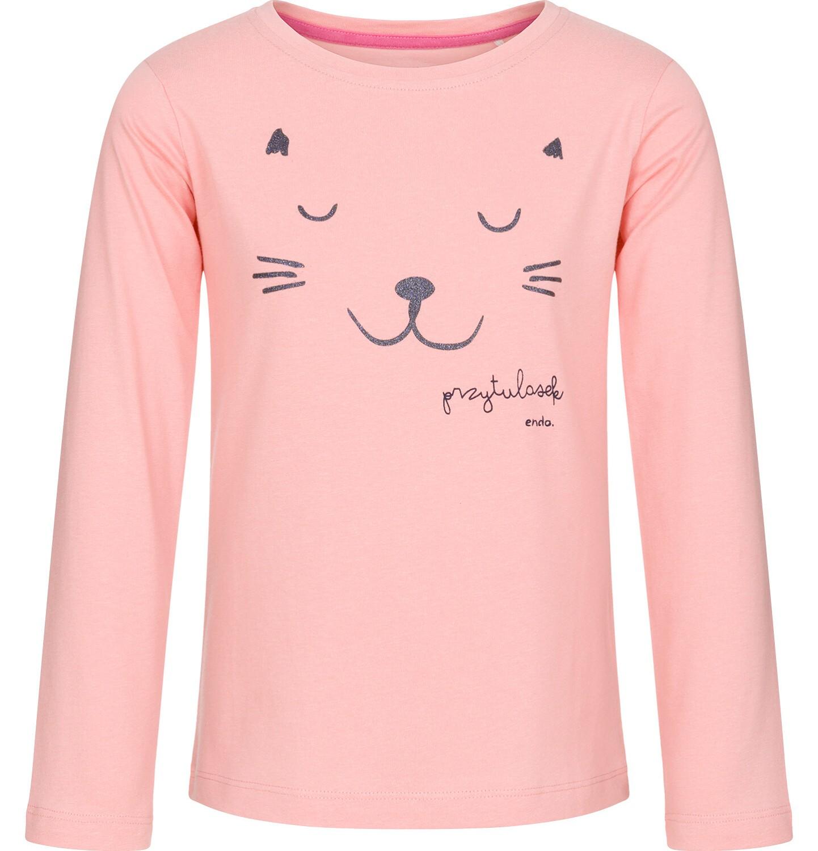 Endo - Bluzka z długim rękawem dla dziewczynki, przytulasek, kremowo-różowa, 3-8 lat D92G026_1