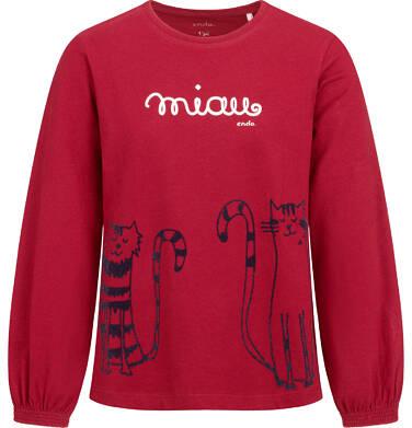 Endo - Bluzka z długim rękawem dla dziewczynki, z kotem, bordowa, 9-13 lat D04G162_1 26