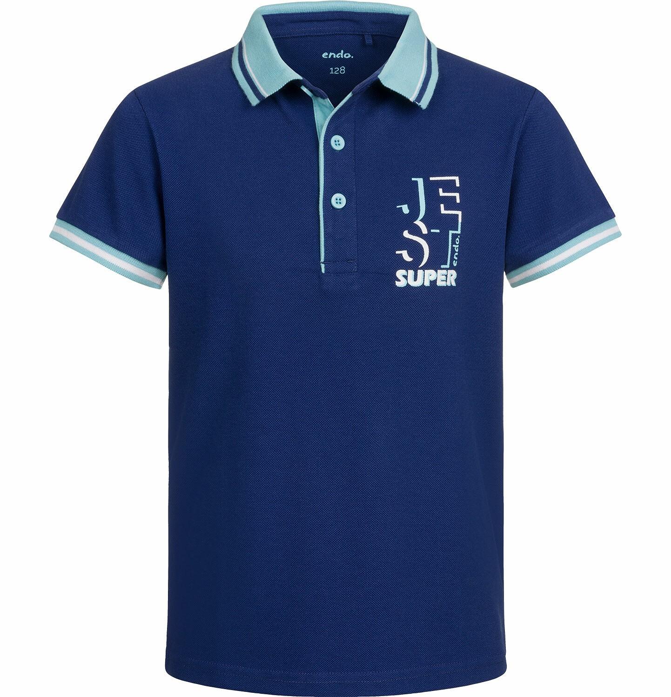 Endo - T-shirt polo z krótkim rękawem dla chłopca, jest super, granatowy, 2-8 lat C03G017_2