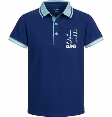 Endo - T-shirt polo z krótkim rękawem dla chłopca, jest super, granatowy, 2-8 lat C03G017_2 26