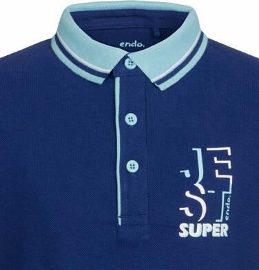 Endo - T-shirt polo z krótkim rękawem dla chłopca, jest super, granatowy, 2-8 lat C03G017_2,2