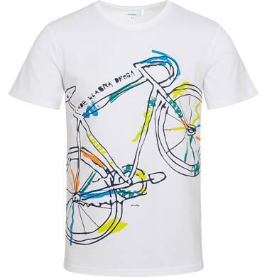 T-shirt męski z kolorowym rowerem, biały Q05G009_2