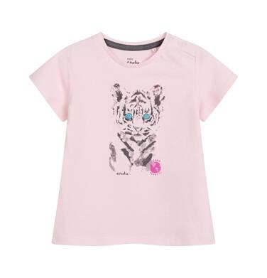 Endo - Bluzka dla dziecka do 2 lat, z tygrysem, różowa N03G067_2