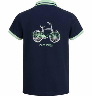 Endo - T-shirt polo z krótkim rękawem dla chłopca, z rowerem, ciemnogranatowy, 2-8 lat C03G018_1