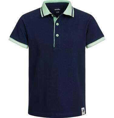 Endo - T-shirt polo z krótkim rękawem dla chłopca, z rowerem, ciemnogranatowy, 9-13 lat C03G518_1