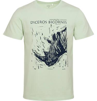 Endo - T-shirt męski z nosorożcem, zielony Q05G011_1 12