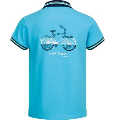 Endo - T-shirt polo z krótkim rękawem dla chłopca, z rowerem, niebieski, 9-13 lat C03G519_1