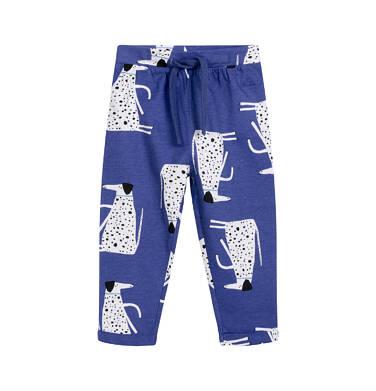 Spodnie dla dziecka do 2 lat, w dalmatyńczyki, niebieskie N03K035_1
