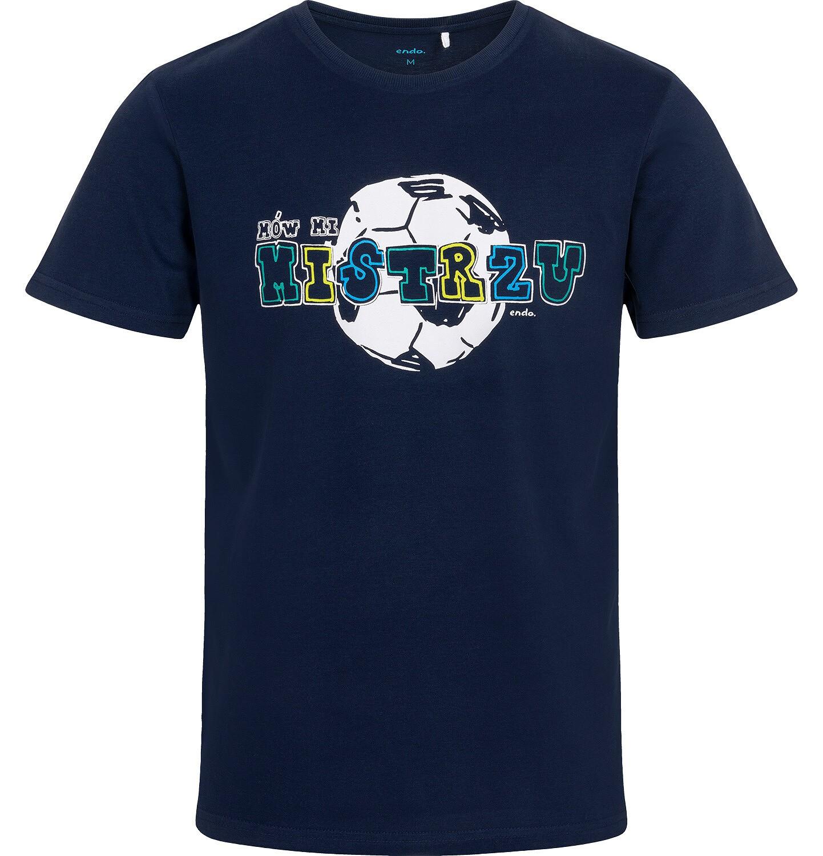 Endo - T-shirt męski z piłką, granatowy Q05G013_1