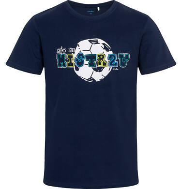 Endo - T-shirt męski z piłką, granatowy Q05G013_1 16