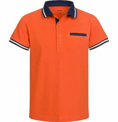 Koszulka polo z krótkim rękawem dla chłopca, z kompasem, pomarańczowa, 2-8 lat C03G020_1