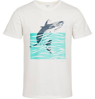 Endo - T-shirt męski z wielorybem, kremowy Q05G014_1 6