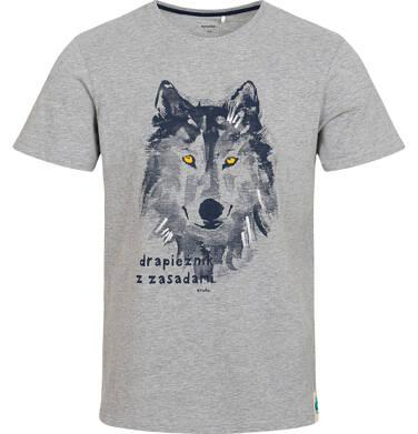 Endo - T-shirt męski z wilkiem, szary Q05G016_1 32